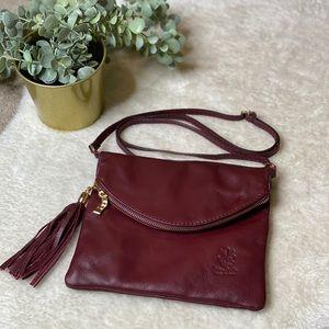 Vera Pelle Fold-over Leather Crossbody Bag